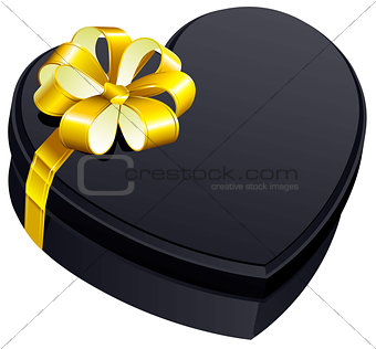 Black gift close box heart shape