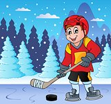 Ice hockey player on frozen lake