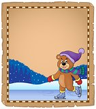 Parchment with ice skating bear