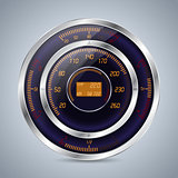 Fully digital speedometer rev counter in orange purple