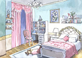 bedroom design of watercolor painting