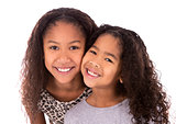 two sisters on white background