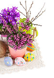 Easter still life with eggs and spring flowers