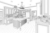 Black Custom Kitchen Design Drawing on White
