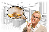 Woman Over Custom Kitchen Drawing and Thought Bubble Photo