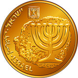Vector Gold Israeli money ten agorot coin