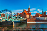 Tumski Bridge in the morning, Wroclaw, Poland