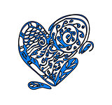 Valentine's day card with big zentagle heart