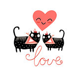 love cats and heart