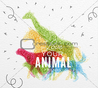 Poster animals tangled line