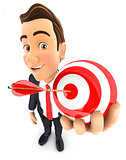 3d businessman holding a sphere target