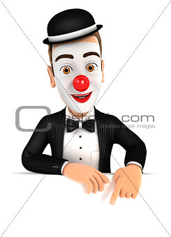 3d clown pointing to empty wall