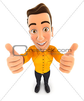 3d man thumbs up