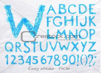 Alphabet pastel blue