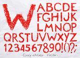 Alphabet pastel red