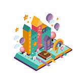Colourful Castle. Isometric Illustration
