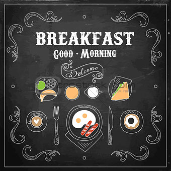 Chalkboard Breakfast Menu. Vector Illustration