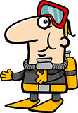 scuba diver cartoon illustration