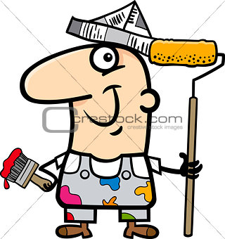painting worker cartoon illustration