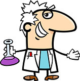 scientist with vial cartoon