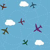 Cartoon airplane path seamless pattern