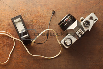 old analogue camera with flash