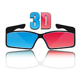 Icon 3D glasses, vector illustration.