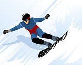 Man riding on snowboard