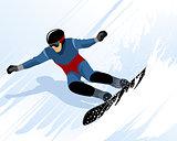 Man riding on snowboard