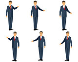 Businessman in suit points
