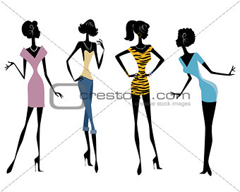 Four girls in dresses
