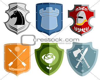 Six emblems set
