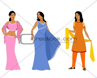 Three indian women in dress