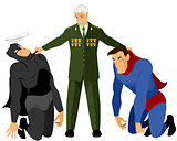 Veteran holds two superheroes