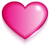 Transparent red valentine heart on white background