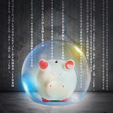 Piggy bank in bubble
