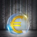 Golden euro sign in bubble