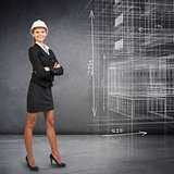 Businesswoman in helemet