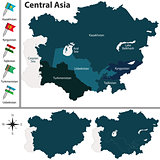 Political map of Central Asia
