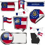 Glossy icons with flag of state Georgia
