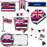 Glossy icons with flag of state Hawaii