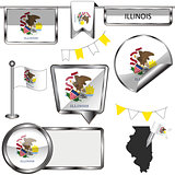 Glossy icons with flag of state Illinois