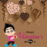 Valentine's Day and Boyfriend Love Confess on Heart chocolate Party background. Vector Party Heart chocolate.