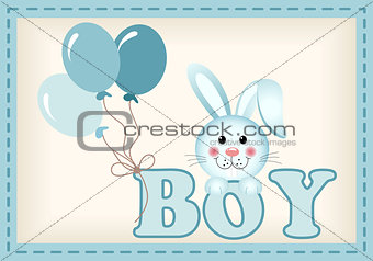 Baby bunny and balloons with word boy