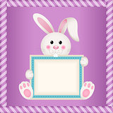 Cute bunny holding blank label