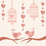 Love card with birds