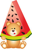 Teddy bear eating watermelon
