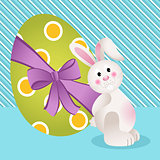 Cute bunny with Easter egg background