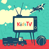 Set of vector elements Kid Television