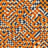 Vector Seamless Orange Navy Color Overlay Irregular Geometric Blocks Square Quilt Pattern